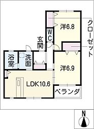 HILLSKAWAMIYA[2階]の間取り