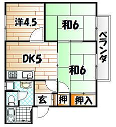 福岡県北九州市八幡東区末広町の賃貸アパートの間取り