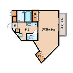 近鉄奈良線 東生駒駅 徒歩7分の賃貸マンション 1階1Kの間取り