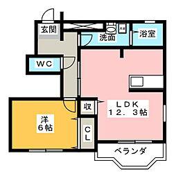 愛知県名古屋市天白区池場5丁目の賃貸アパートの間取り