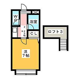 愛知県北名古屋市九之坪鴨田の賃貸アパートの間取り