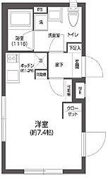 都営新宿線 菊川駅 徒歩6分の賃貸マンション 3階ワンルームの間取り