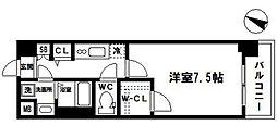 フォーリアライズ大阪ウエストベイ 2階1Kの間取り