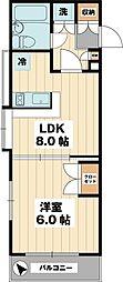 ローズマンション南行徳M-1 3階1DKの間取り