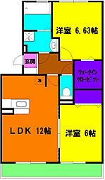 静岡県浜松市東区中田町の賃貸アパートの間取り