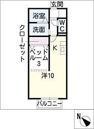 F・アンジェ A[1階]の間取り