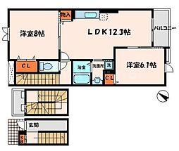 サンモールI 3階2LDKの間取り