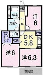 JR予讃線 宇多津駅 3.1kmの賃貸アパート 1階3DKの間取り