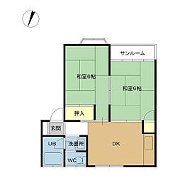 新潟県新潟市中央区米山4丁目の賃貸アパートの間取り