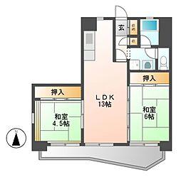 中駒九番団地8号棟[12階]の間取り