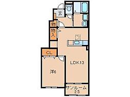 仮)野上野アパート[1階]の間取り