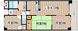 兵庫県神戸市須磨区北落合6丁目の賃貸マンションの間取り