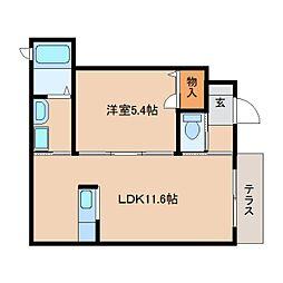 近鉄天理線 前栽駅 徒歩5分の賃貸アパート 1階1LDKの間取り