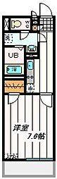 東武東上線 朝霞駅 徒歩15分の賃貸マンション 4階1Kの間取り