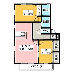 パナハイツクオーレ A棟[2階]の間取り