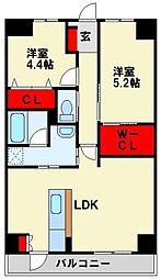 Livableなかま 4階2LDKの間取り