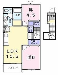 愛知県長久手市岩作落合の賃貸アパートの間取り