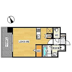 福岡市地下鉄空港線 東比恵駅 徒歩8分の賃貸マンション 3階ワンルームの間取り
