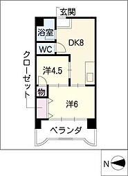 第3宮地マンション記念橋[6階]の間取り