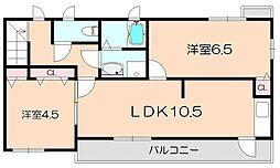 大阪府豊中市千里園1丁目の賃貸アパートの間取り