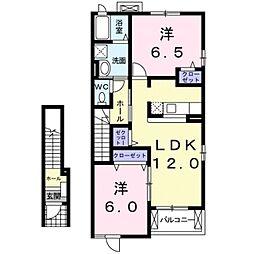 しなの鉄道 御代田駅 徒歩20分の賃貸アパート 2階2LDKの間取り