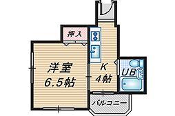 スタジオ108レザン中桜塚[5階]の間取り