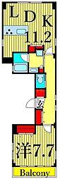 東京メトロ千代田線 根津駅 徒歩6分の賃貸マンション 3階2LDKの間取り
