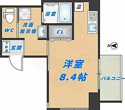 みおつくし高井田 9階ワンルームの間取り