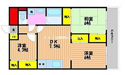 岡山県岡山市北区西古松2丁目の賃貸マンションの間取り