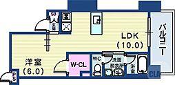 インペリアル新神戸 10階1LDKの間取り