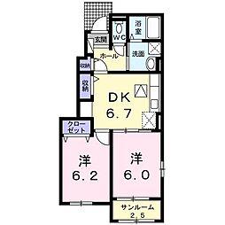 高松琴平電気鉄道長尾線 長尾駅 徒歩27分の賃貸アパート 1階2DKの間取り