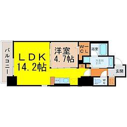 名鉄名古屋本線 金山駅 徒歩5分の賃貸マンション 9階1LDKの間取り