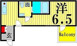 FICATA綾瀬 2階ワンルームの間取り