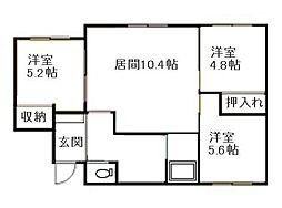 北海道札幌市南区澄川五条10丁目の賃貸マンションの間取り