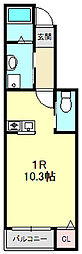 白萩町新築アパート 1階ワンルームの間取り