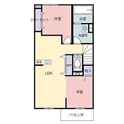 JR東海道・山陽本線 河瀬駅 徒歩15分の賃貸アパート 2階2LDKの間取り