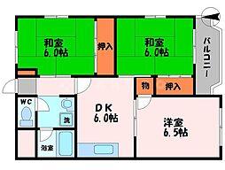 グリーンサイド大西 4階3DKの間取り