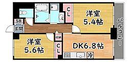 阪急神戸本線 六甲駅 徒歩4分の賃貸マンション 3階2DKの間取り