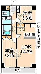 東京都足立区千住仲町の賃貸マンションの間取り