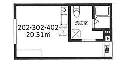 東京メトロ日比谷線 北千住駅 徒歩6分の賃貸マンション 4階ワンルームの間取り