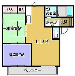 大阪府堺市西区浜寺船尾町東4丁の賃貸アパートの間取り
