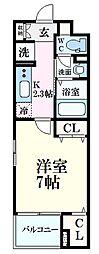 JR山陽本線 広島駅 徒歩14分の賃貸マンション 1階1Kの間取り