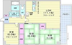 仙台市営南北線 北四番丁駅 徒歩6分の賃貸マンション 3階3LDKの間取り