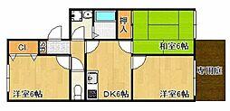 兵庫県高砂市中島3丁目の賃貸間借りの間取り