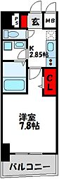 福岡市地下鉄空港線 東比恵駅 徒歩10分の賃貸マンション 9階1Kの間取り