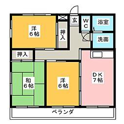 愛知県名古屋市北区大我麻町の賃貸マンションの間取り