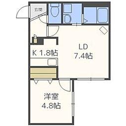 北海道札幌市東区北十条東14丁目の賃貸マンションの間取り