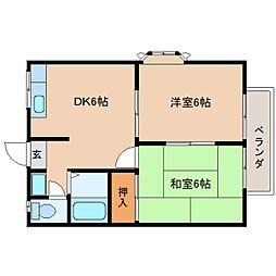 奈良県奈良市西大寺宝ケ丘の賃貸アパートの間取り