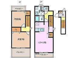 三重県津市川方町の賃貸アパートの間取り