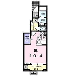 ラ・セーヌ ミヨイ I 1階1Kの間取り